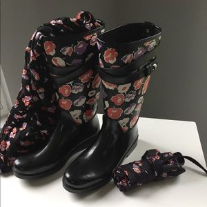 COACH rain boots with matching scarf and umbrella!